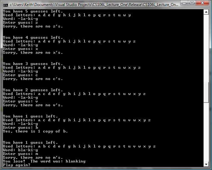Write a perl program for hangman word game