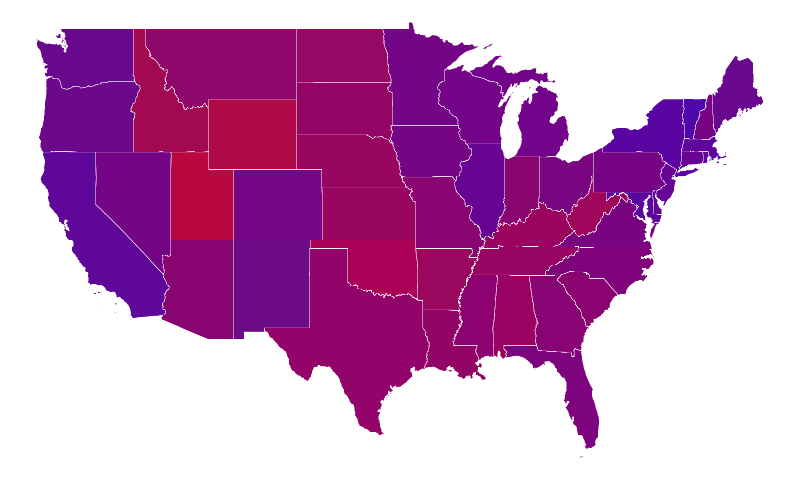 Programming Assignment Purple America - Us election map by county purple